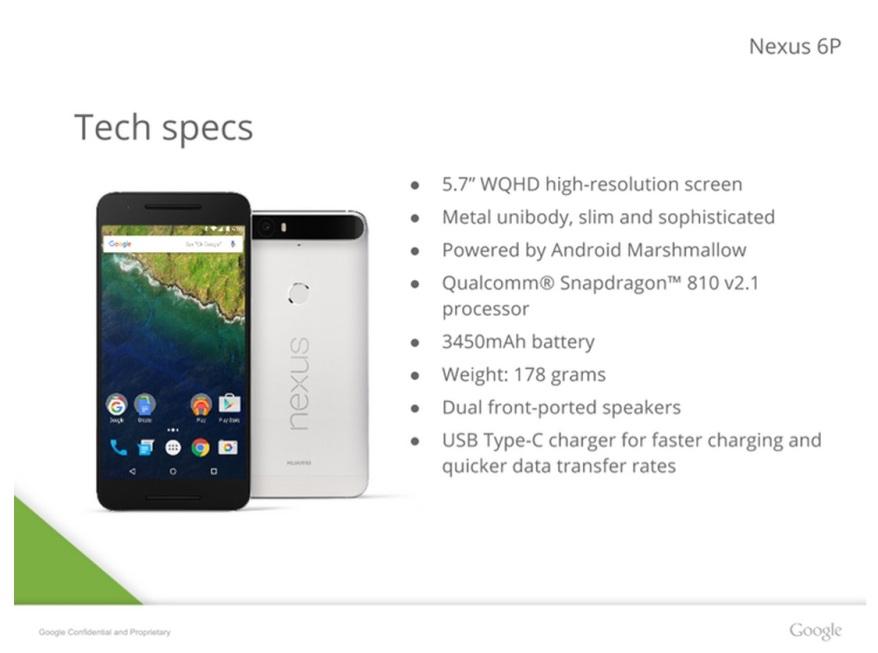 Nexus 6P especificaciones