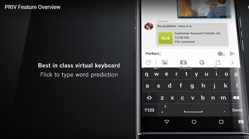 Blackberry Priv teclado virtual