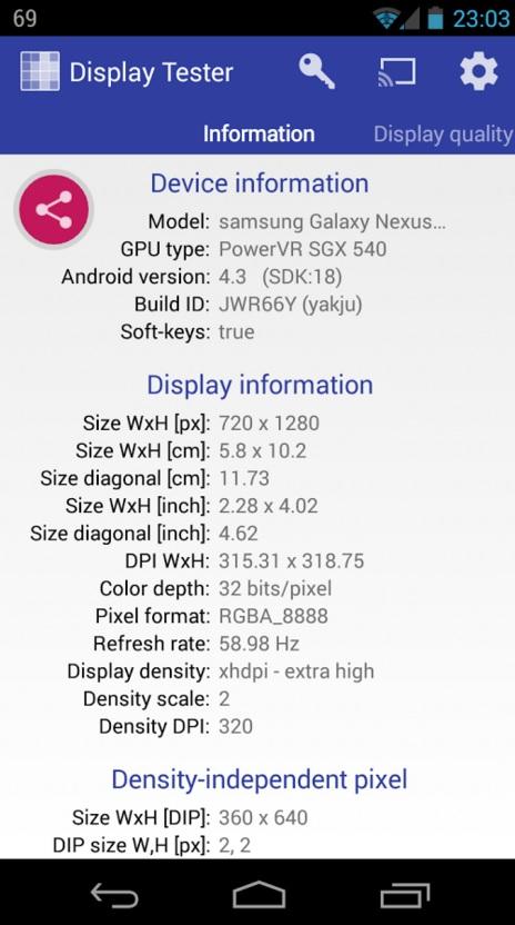 display tester info