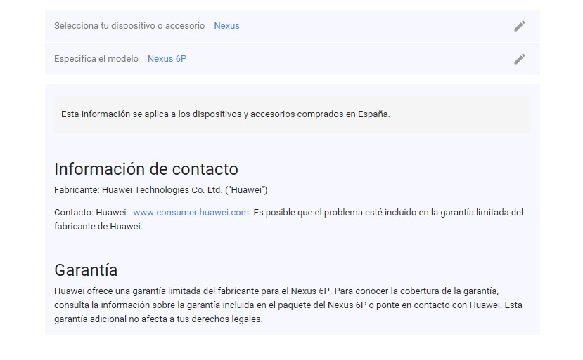 garantía Nexus 6P