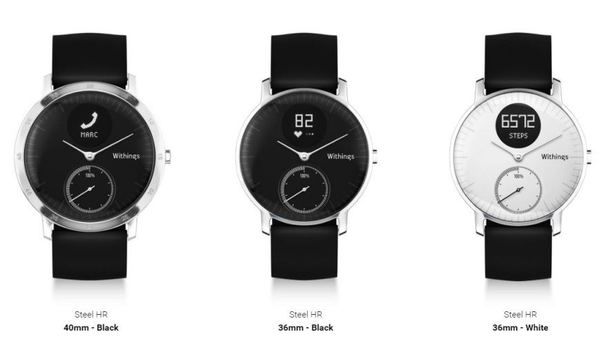 Withings Steel HR tamaños y colores